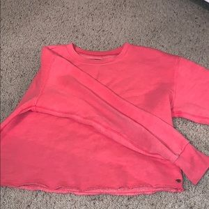 american eagle coral cropped sweater